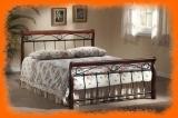 Kovová postel Wiktoria v kombinaci s dřevem